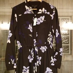 Button Down Floral Accent Dress